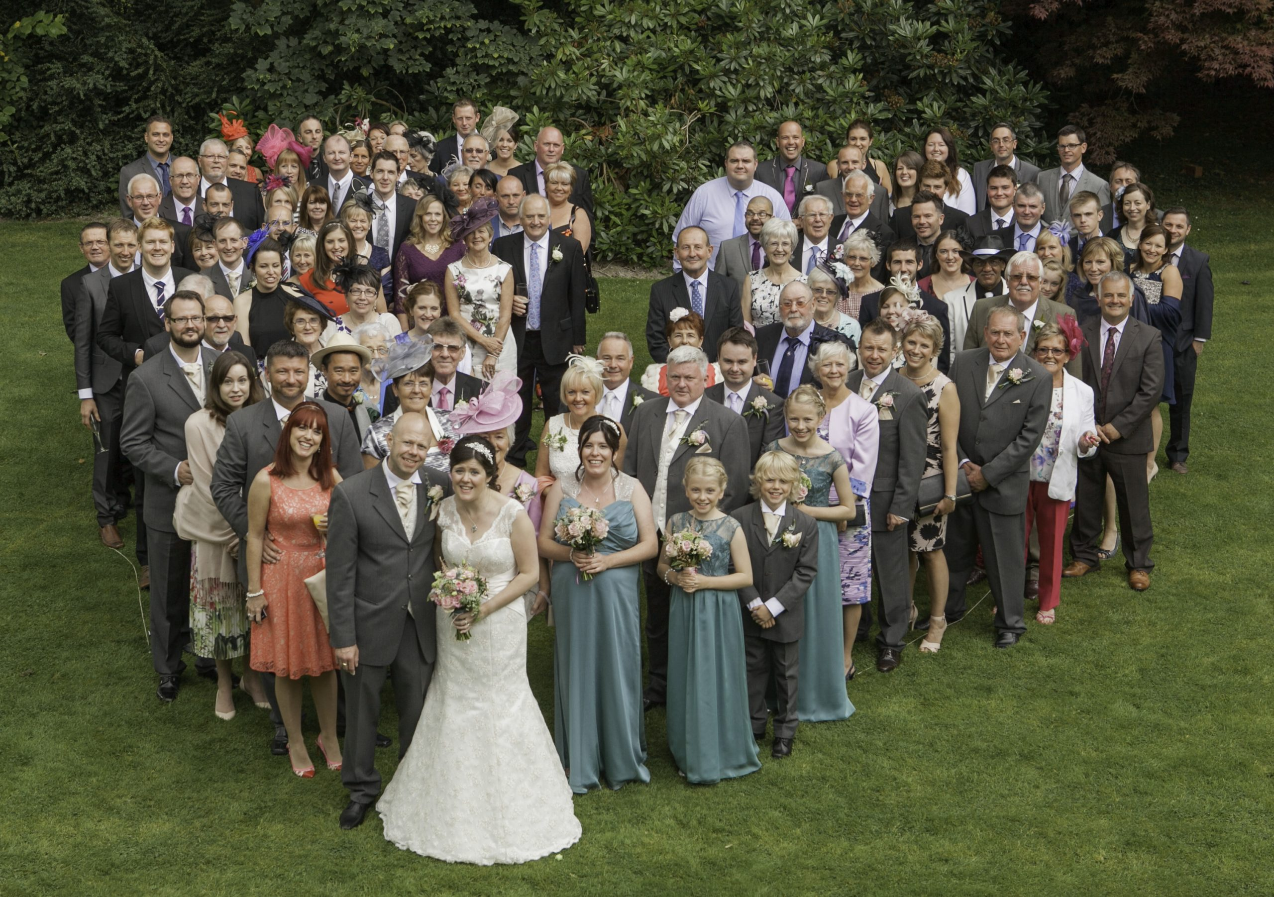 Group Wedding Photo, Heart-shaped Group shot, Wedding Photography, Maesmawr Hall,Tania Miller Photography